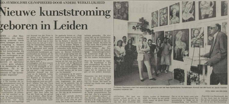 Jacob Kanbier tijdens de wereldpremière van het Neo-Symbolisme, Leidse Courant 22-05-1989