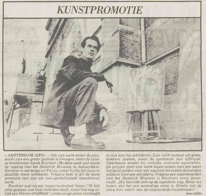 Jacob Kanbier met zijn kunstpromotie voor het Stedelijk Museum in Amsterdam, Leidsch Dagblad 19-10-1989