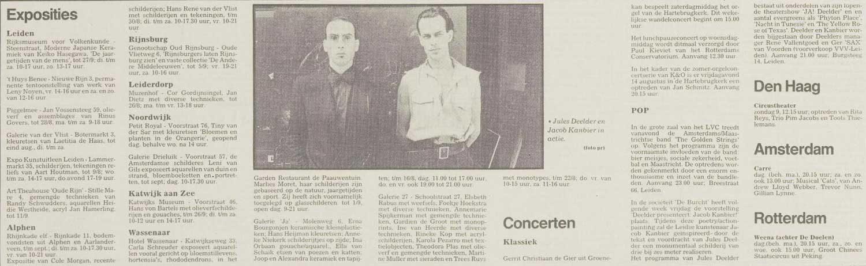 Jacob Kanbier tijdens de wereldpremière van het Neo-Symbolisme, Leidsch Dagblad 07-08-1987