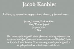 Overlijdensbericht Jacob Kanbier