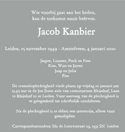 Overlijdensbericht van Jacob Kanbier